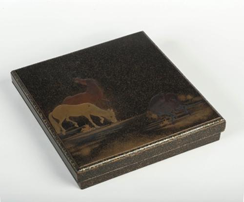 Caja para escritura con caballos