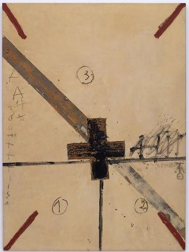 Creu negra i diagonal [Cruz negra y diagonal]