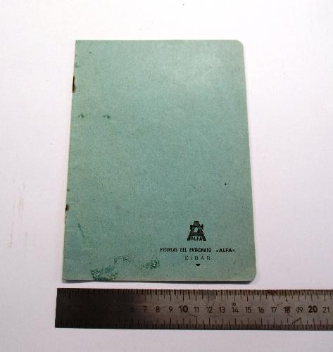Cuaderno de la escuela del Patronato de Alfa.
