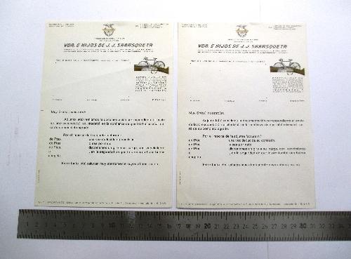 """Carta modelo del taller """"Viuda e Hijos de J.J. Sarasqueta""""."""