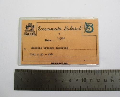 Tarjeta del Economato Laboral de Alfa.