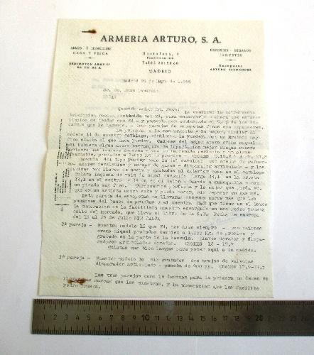 Carta dirigida a Juan Lamarain, remitida por Armería Arturo S.A.