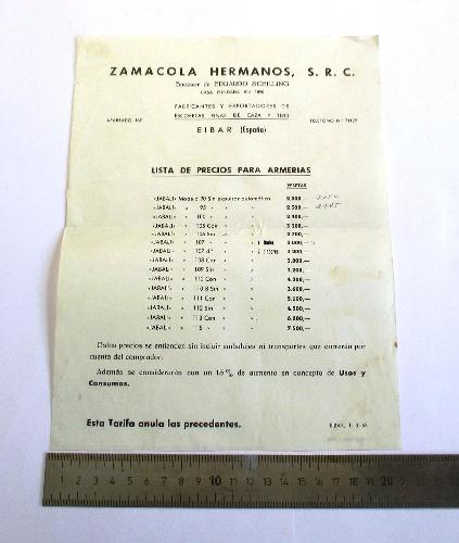 Lista de precios para armerías de Zamacola Hermanos S.R.C.