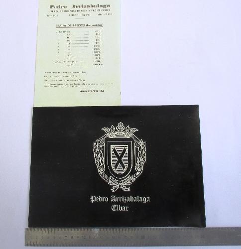 Catálogo de escopetas marca Pedro Arrizabalaga, y lista de precios para armerías.