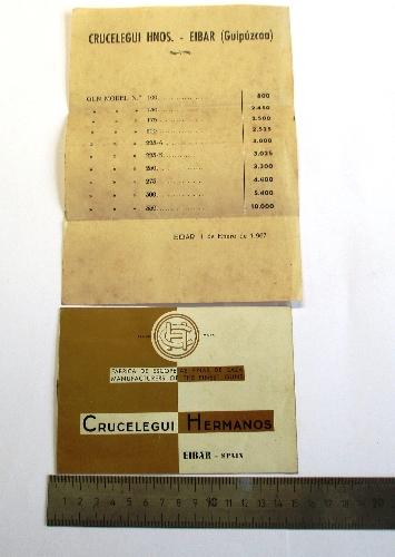 """Catálogo de escopetas """"Crucelegui Hermanos"""", y lista de precios para armerías."""