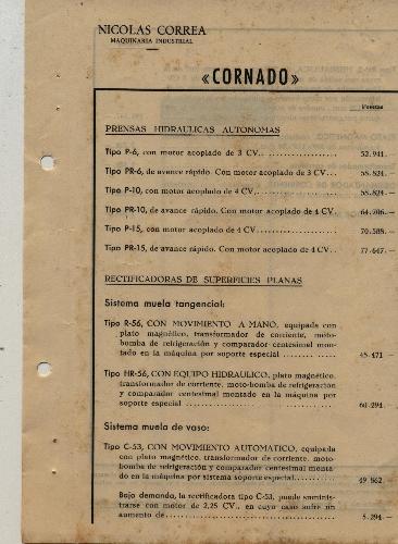"""PRENSA Y RECTIFICADORA """"CORNADO"""""""
