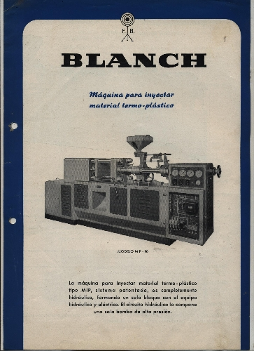 """""""BLANCH"""" MAQUINA PARA INYECTAR MATERIAL TERMO PLÁTICO"""