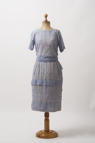 Vestido de verano de gasa de algodón azul celeste