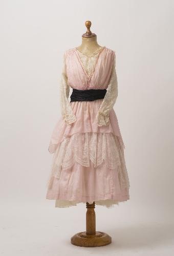 Vestido de verano de gasa de algodón rosa pastel