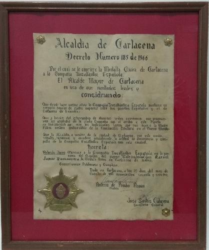 Medalla de la ciudad de Cartagena a la Cº Trasatlántica Española